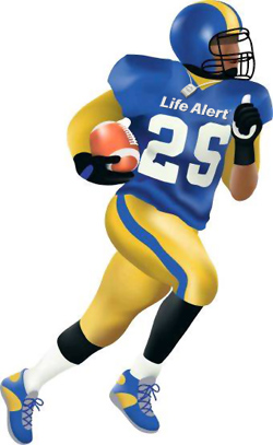 Score a touchdown with a Life Alert pendant emergency help button.